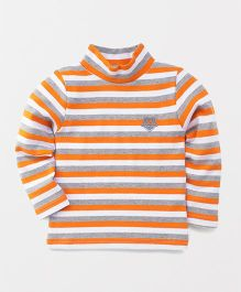 Watermelon Full Sleeve Stripe T-Shirt - Orange & White
