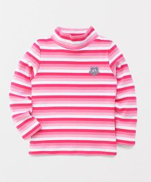 Watermelon Full Sleeve Stripe T-Shirt - Pink & White