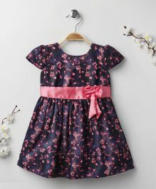 Babyhug Cap Sleeves Dress Floral Print - Navy Blue