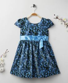 Babyhug Cap Sleeves Dress Floral Print - Blue