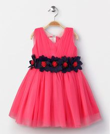Enfance Elegant Sleeveless Party Wear Dress - Hot Pink