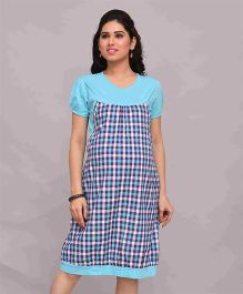Mama & Bebe Maternity Pinafore Dress Checks Pattern - Blue