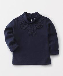 TBB Lace Flower Applique Top - Navy Blue