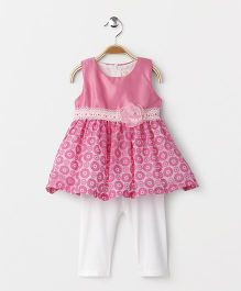 Smile Rabbit Sleeveless Dress With Leggings - Pink