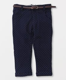 TBB Dot Design Pant With Belt - Dark Blue