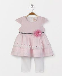 Smile Rabbit Short Sleeves Dress With Leggings - Pink