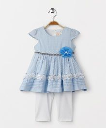 Smile Rabbit Short Sleeves Dress With Leggings - Blue