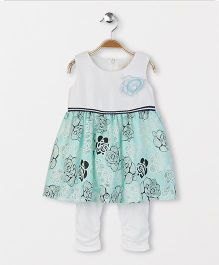 Smile Rabbit Rose Print Dress with Leggings - Sea Green