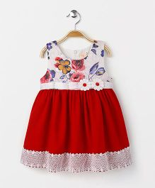 Smile Rabbit Flower Print Sleeveless Dress - Red