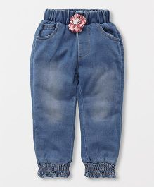 TBB Joggers With Flower Applique - Blue