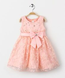 Fashion Collection by Meggie Party Wear Sleeveless Dress With Bow - Pink