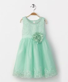 Fashion Collection by Meggie Party Wear Sleeveless Dress With Flower - Aqua Blue