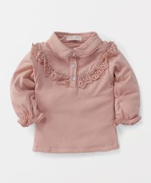 TBB Collar Neck Flower Lace Top - Peach