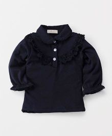 TBB Collar Neck Flower Lace Top - Dark Blue