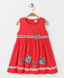 Smile Rabbit Floral Print Dress - Red