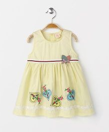Smile Rabbit Floral Embroidered Dress - Yellow