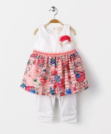 Smile Rabbit Floral Print Dress With Leggings - Pink