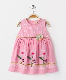 Smile Rabbit Pretty Floral Embroidered Dress - Pink