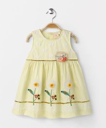 Smile Rabbit Pretty Floral Embroidered Dress - Yellow