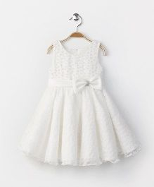 Fashion Collection by Meggie Party Wear Sleeveless Bow Applique Dress - White