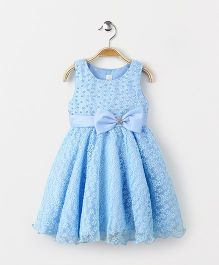 Fashion Collection by Meggie Party Wear Sleeveless Bow Applique Dress - Blue