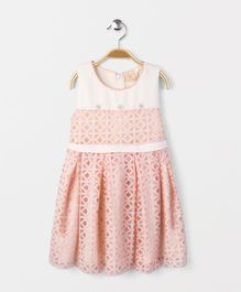 Smile Rabbit Net Design Sleeveless Dress - Peach