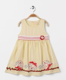 Smile Rabbit Crew Neck Sleeveless Dress - Yellow