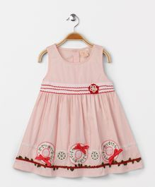 Smile Rabbit Crew Neck Sleeveless Dress - Pinkish Peach