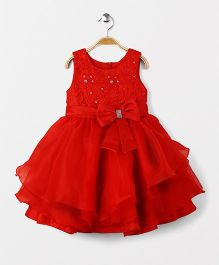 Fashion Collection by Meggie Party Wear Sleeveless Bow Applique Dress - Red