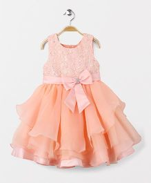Fashion Collection by Meggie Party Wear Sleeveless Bow Applique Dress - Peach