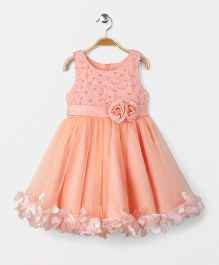 Fashion Collection by Meggie Party Wear Sleeveless Flower Applique Dress - Peach