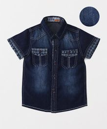 DKL Denim Shirt With Two Front Pockets - Navy Blue