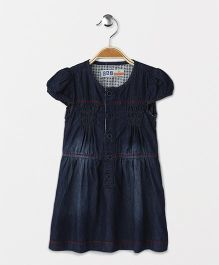 DKL Shirt Sleeves Denim Dress- Navy Blue