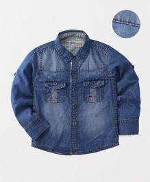 DKL Denim Shirt With Two Front Pockets - Blue