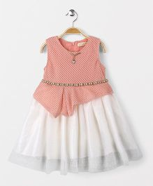ZY & UP Sleeveless Frock With Waist Chain - Pink & White