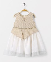 ZY & UP Sleeveless Frock With Waist Chain - Gold & White