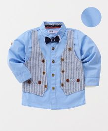 ZY & UP Collar Shirt With Mock Jacket - Sky Blue