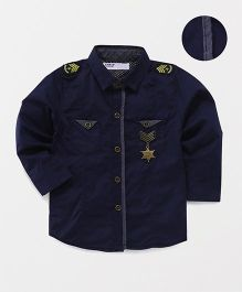 ZY & UP Full Sleeve Star Applique Shirt - Navy Blue