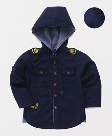 ZY & UP Stylish Hooded Neck Shirt - Navy Blue