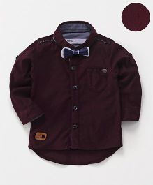 ZY & UP Full Sleeve Star Applique Shirt - Maroon