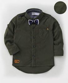 ZY & UP Full Sleeve Star Applique Shirt - Dark Green