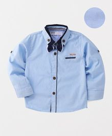ZY & UP Trendy Dual Tone Collar Neck Shirt - Blue