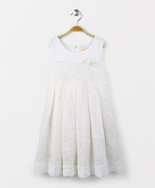 Smile Rabbit Sleeveless Flower Print Frock - White