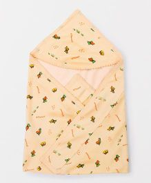 Tinycare Hooded Baby Towel Fish Print - Peach