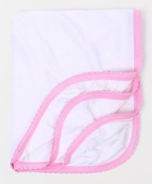 Tinycare Plain Baby Bath Towel - White And Pink