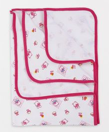 Tinycare Baby Towel With Teddy Print - White & Dark Pink