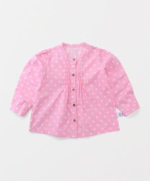 Yiyi Garden Dot Print Full Sleeves Top - Pink