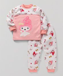 Superfie Cute Doll Print Winter Set - Light Pink
