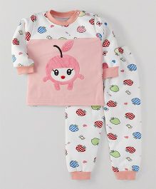 Superfie Apple Print Winter Set - Peach