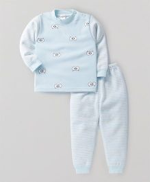 Superfie Cute Eyes Print Winter Set - Sky Blue